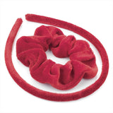 Two Piece Velvet Look Alice Band & Scrunchie Set - Red