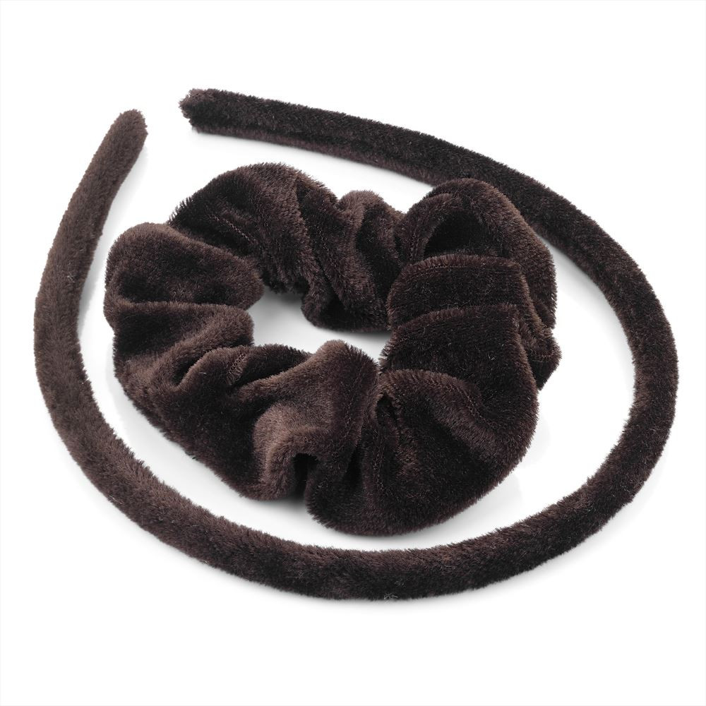 Two Piece Velvet Look Alice Band & Scrunchie Set - Brown