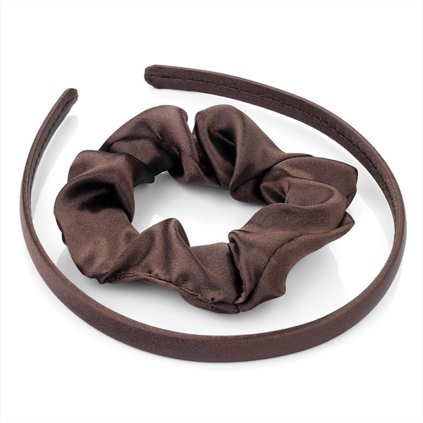 Two Piece Satin Look Alice Band & Scrunchie Set - Brown 1cm Alice Band & 3cm Scrunchie