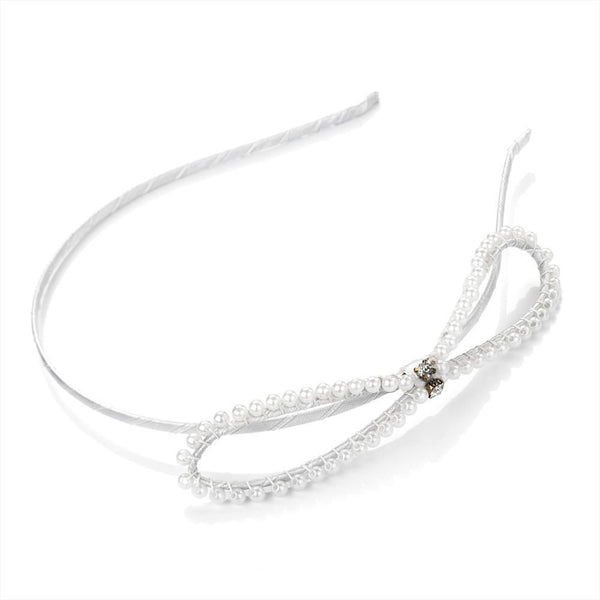 Bow Headband - White Pearl 11cm Bow