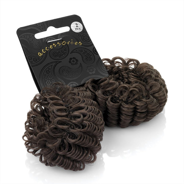 Two Imitation Hair Donut Ring Shapers - Brown 3cm