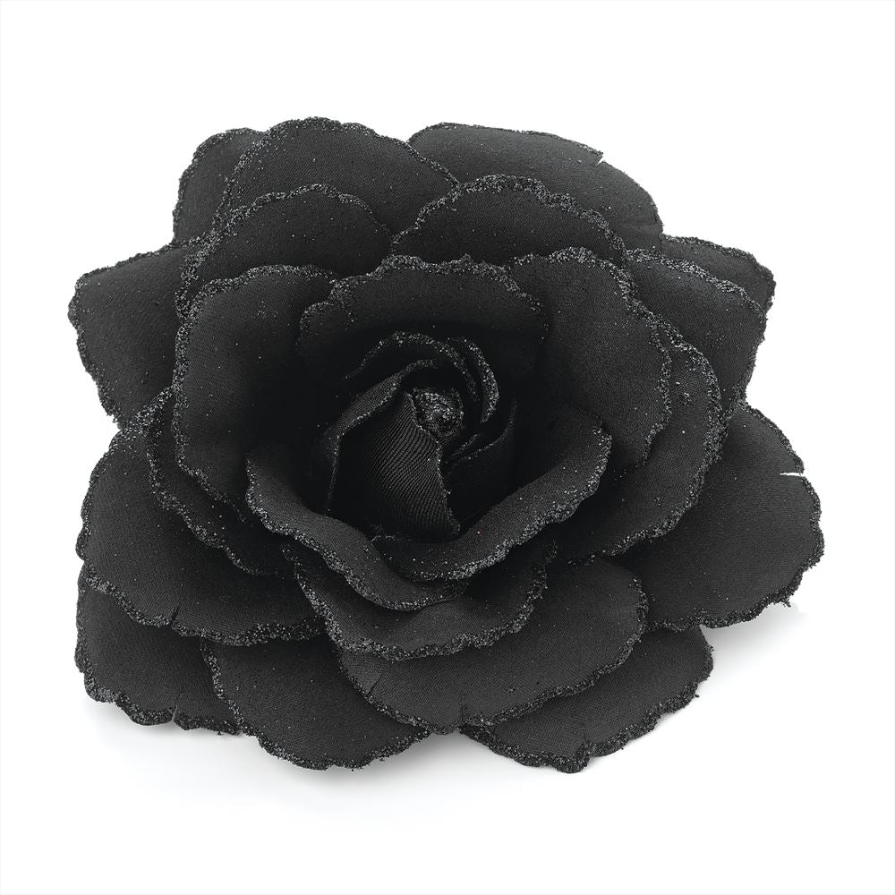 Glitter Rose Flower Hair Elastic & Clip - Black 9cm