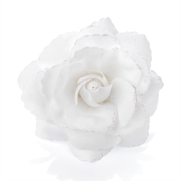 Glitter Rose Flower Hair Elastic & Clip - White 9cm