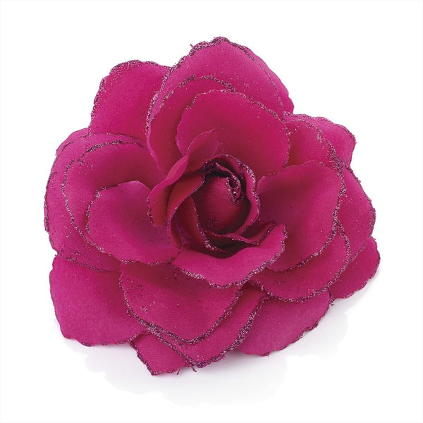 Glitter Rose Flower Hair Elastic & Clip - Fuschia 9cm