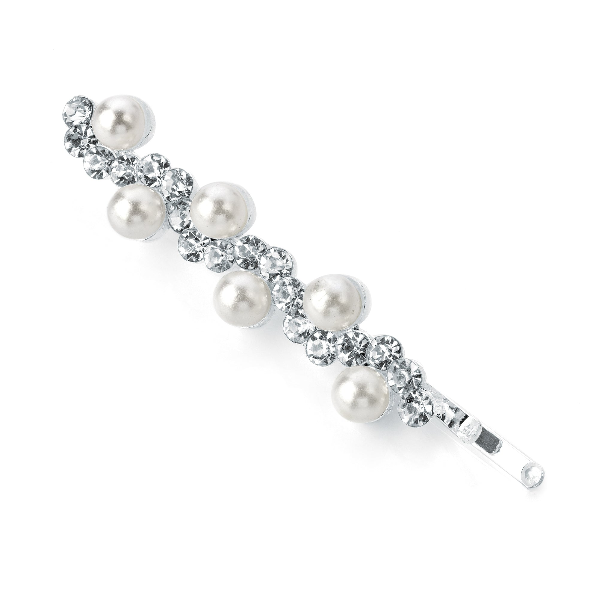 Elegant Crystal & Pearl Design Metal Hair Grip 5cm
