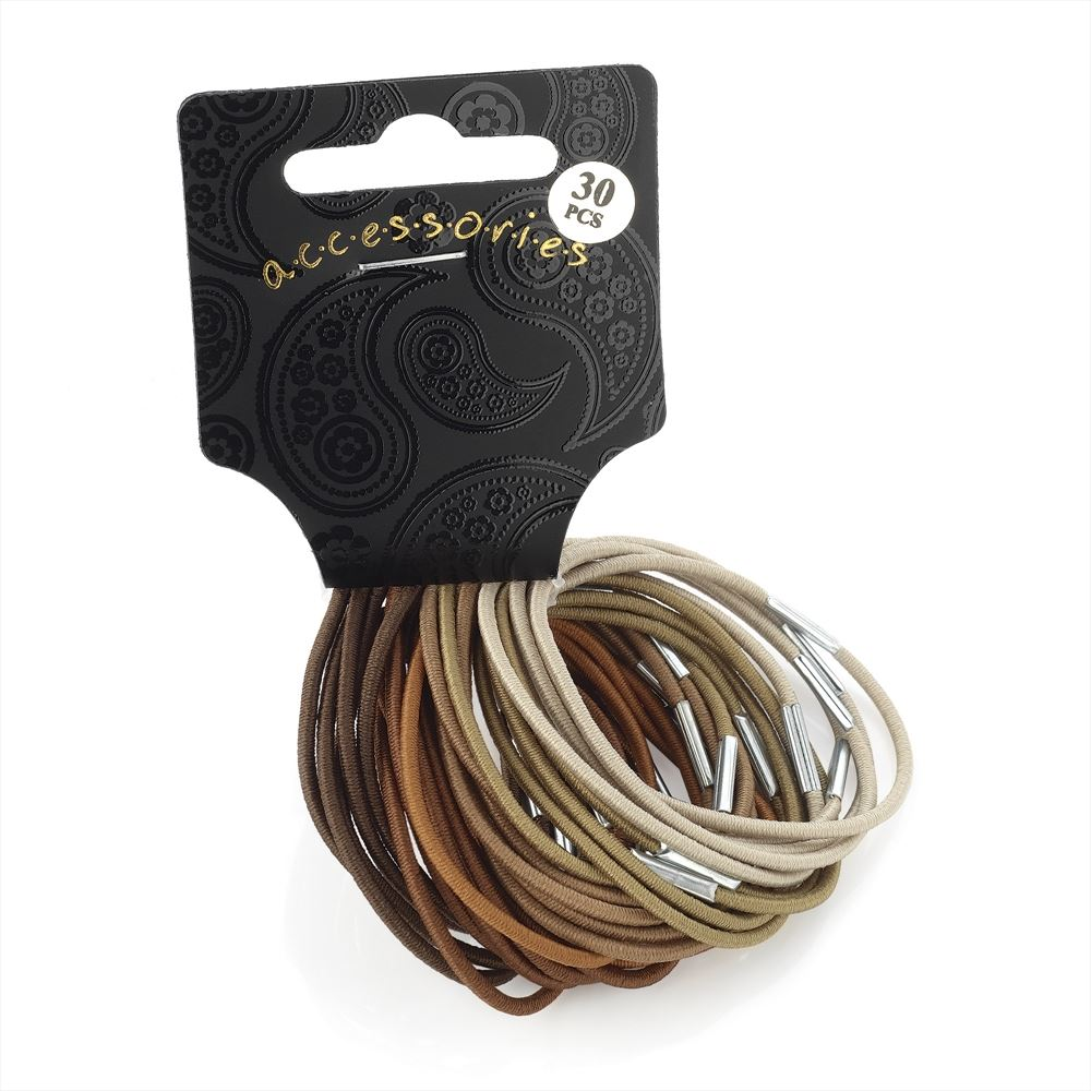 30 Piece Thin Hair Elastic Set - Brown Tones 2mm