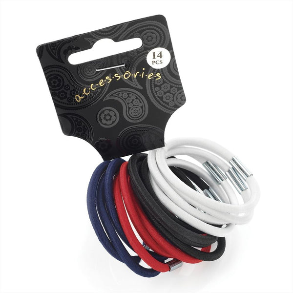 14 Piece Thick Hair Elastic Set - Black,White, Red & Navy 4mm
