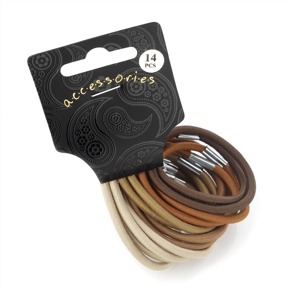 14 Piece Thick Hair Elastic Set - Brown Tones 4mm