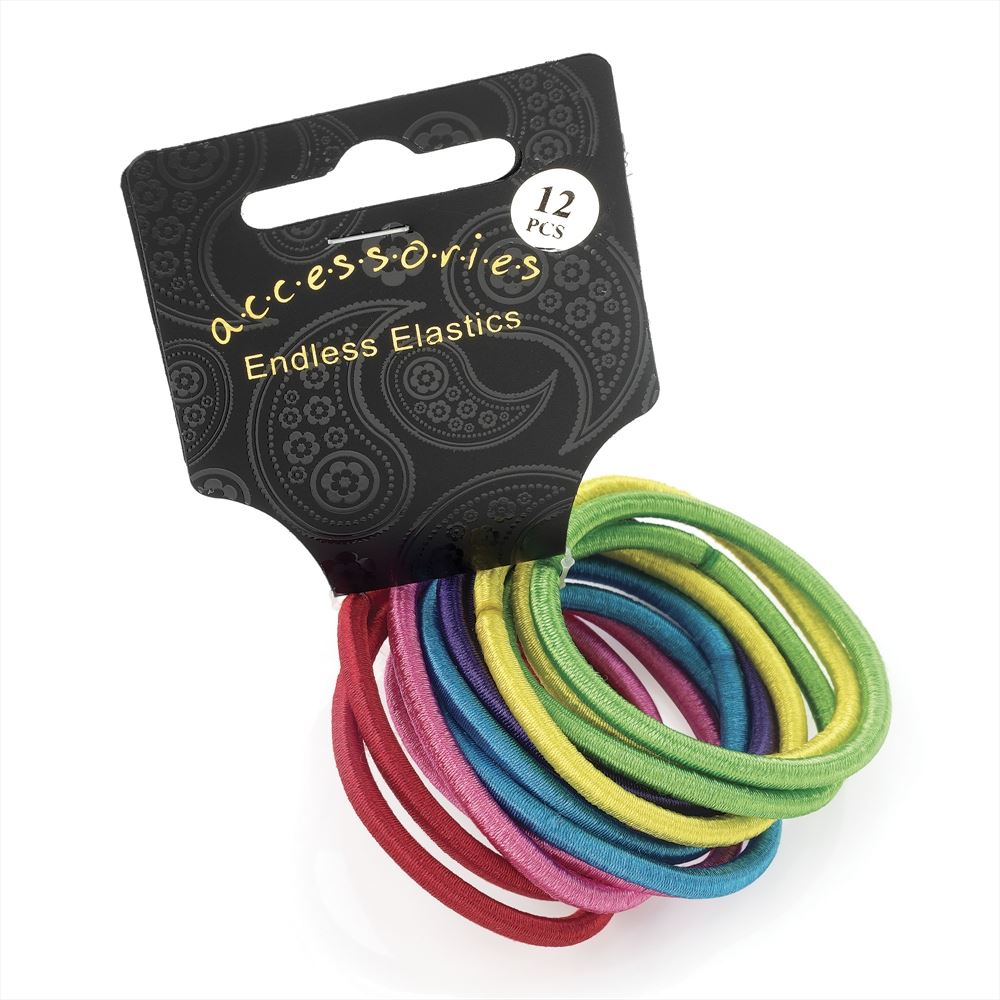 12 Piece Satin Finish Thick Endless Hair Elastic Set - Bright Tones 4mm
