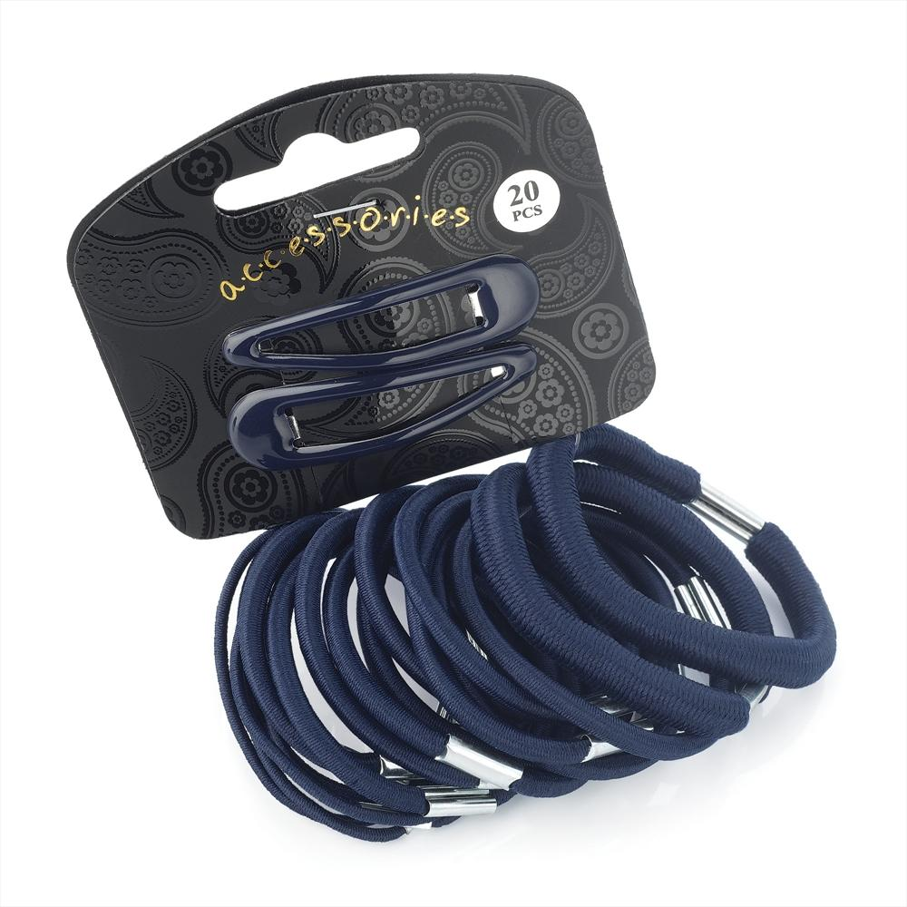 20 Piece Snap Clip & Hair Elastic Set - Navy Various Sizes