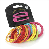 20 Piece Snap Clip & Hair Elastic Set - Bright Tones Various Sizes
