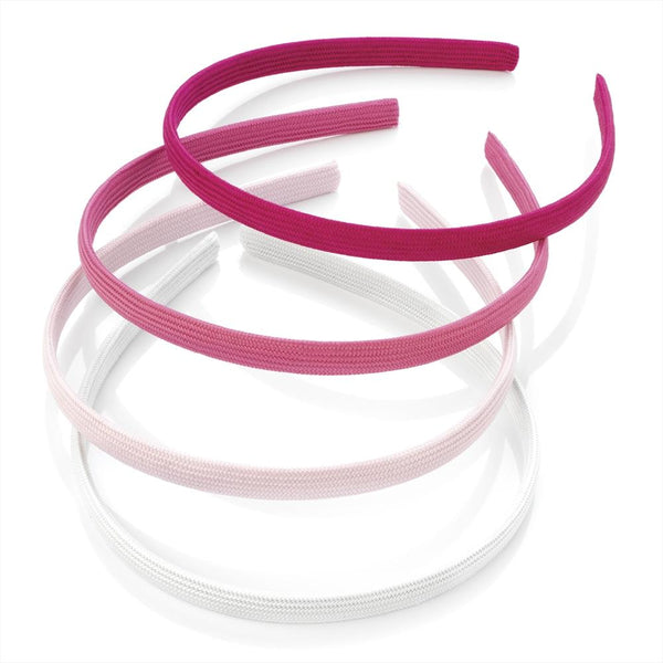 Four Piece Fabric Covered Alice Bands - White & Pink Tones 9mm