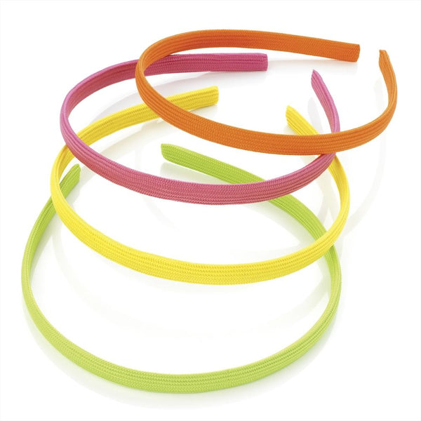 Four Piece Fabric Covered Alice Bands - Green, Orange, Yellow & Pink 9mm