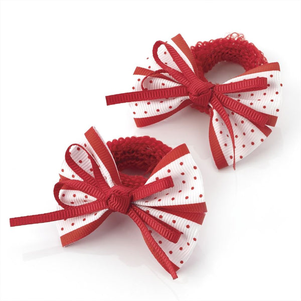 Polka Dot Bow Hair Ponio - Red & White 5.5cm