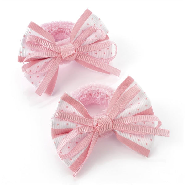 Polka Dot Bow Hair Ponio - Pink & White 5.5cm