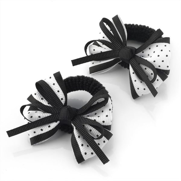 Polka Dot Bow Hair Ponio - Black & White 5.5cm