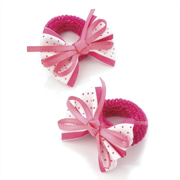 Polka Dot Bow Hair Ponio - Fuschia & White 5.5cm