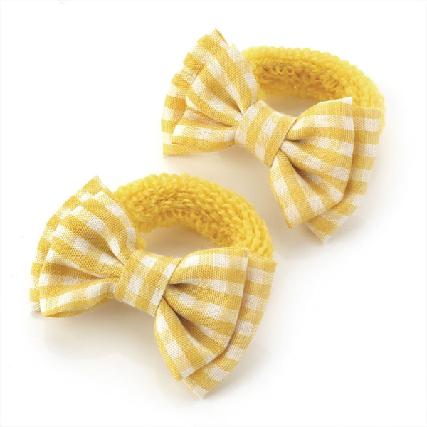 Gingham Bow Hair Ponio - Yellow & White 5.5cm