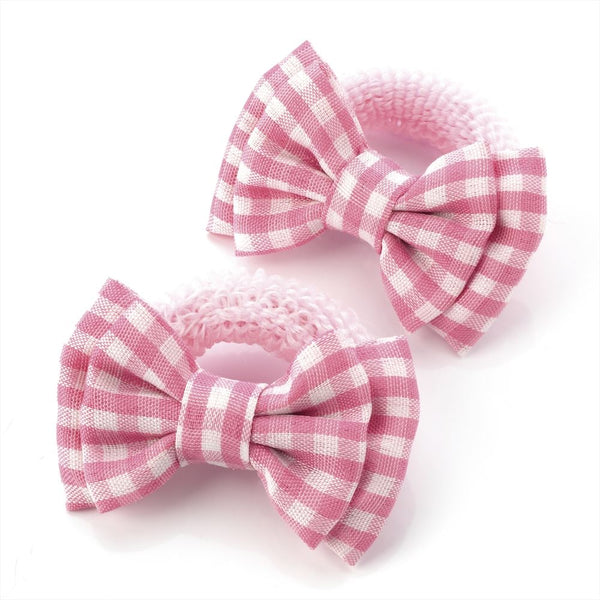 Gingham Bow Hair Ponio - Pink & White 5.5cm