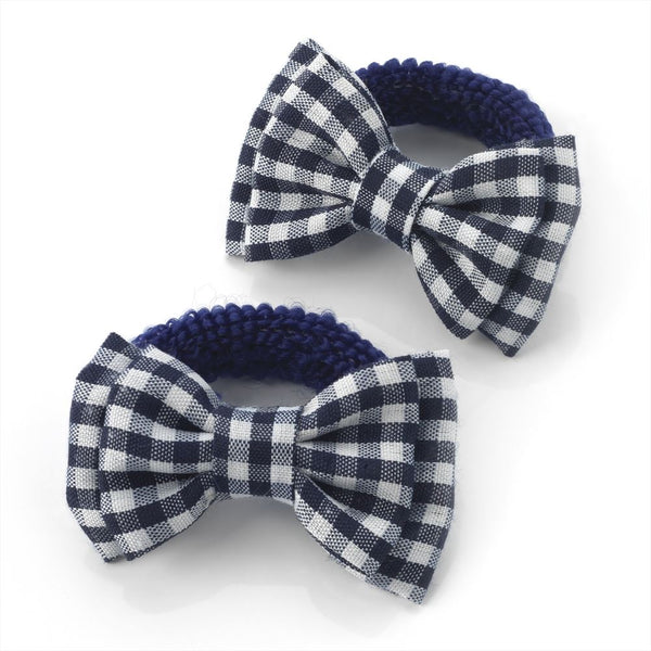 Gingham Bow Hair Ponio - Navy & White 5.5cm