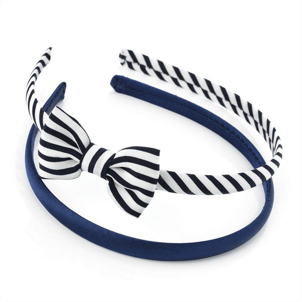 Two Piece Bow & Plain Headband Set - Navy & White 3cm Headband & 6cm Bow