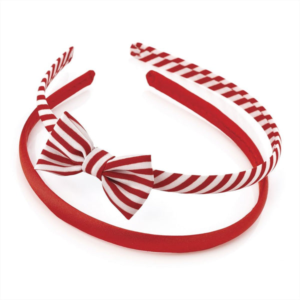 Two Piece Bow & Plain Headband Set - Red & White 3cm Headband & 6cm Bow