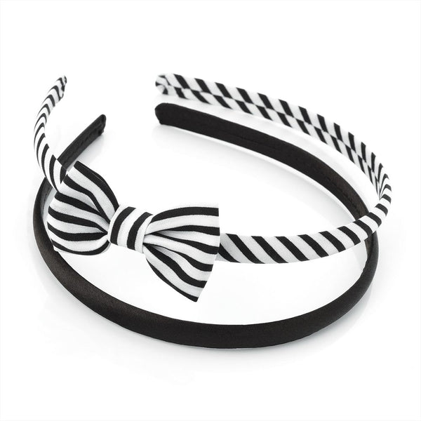 Two Piece Bow & Plain Headband Set - Black & White 3cm Headband & 6cm Bow