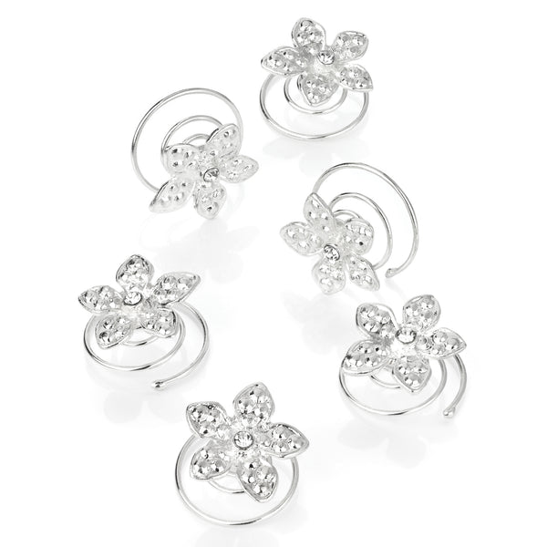 Six Silver & Crystal Flower Hair Twists 1.5cm design