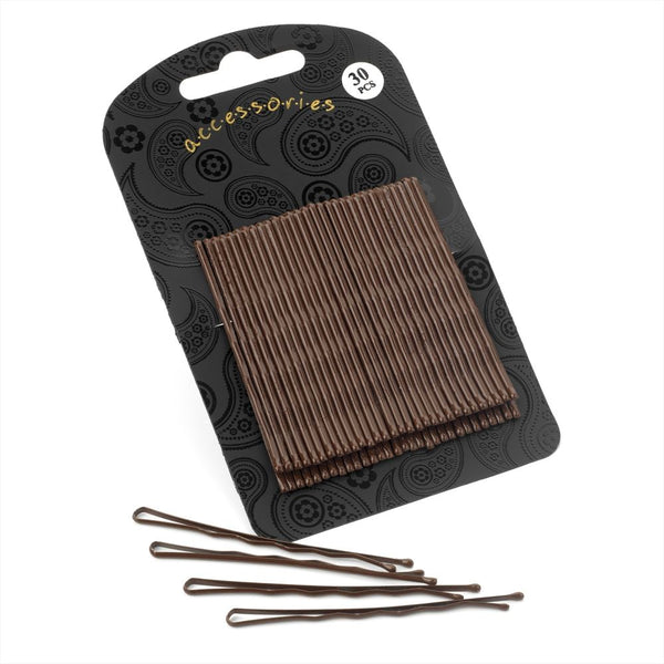 30 Piece Hair Grip Set - Brown 6.5cm