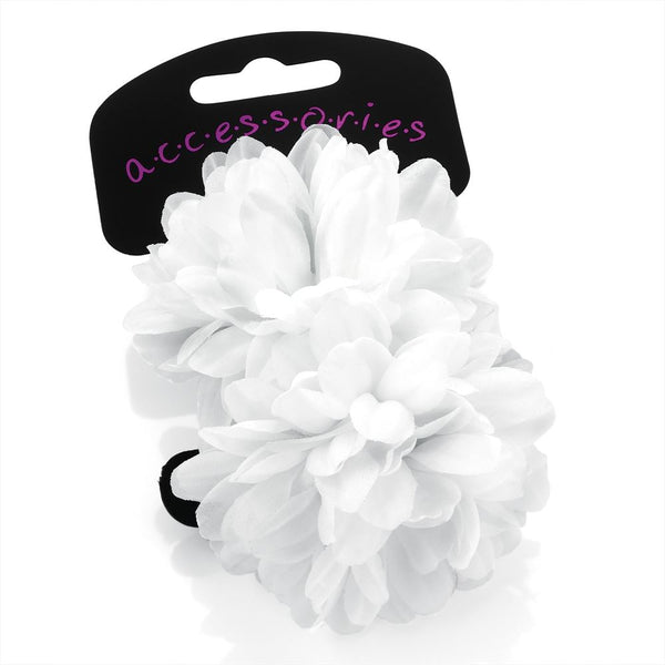 Two Piece Flower Ponio Hair Set - White 7cm