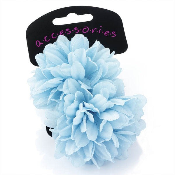 Two Piece Flower Ponio Hair Set - Light Blue 7cm
