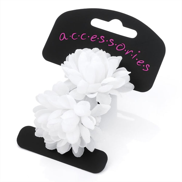 Two Piece Flower Ponio Hair Set - White 5cm