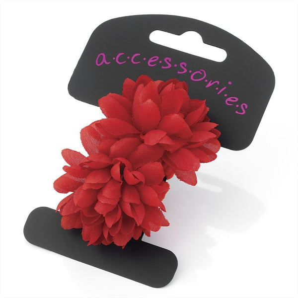 Two Piece Flower Ponio Hair Set - Red 5cm