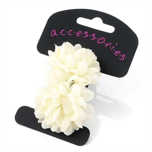 Two Piece Flower Ponio Hair Set - Ivory 5cm