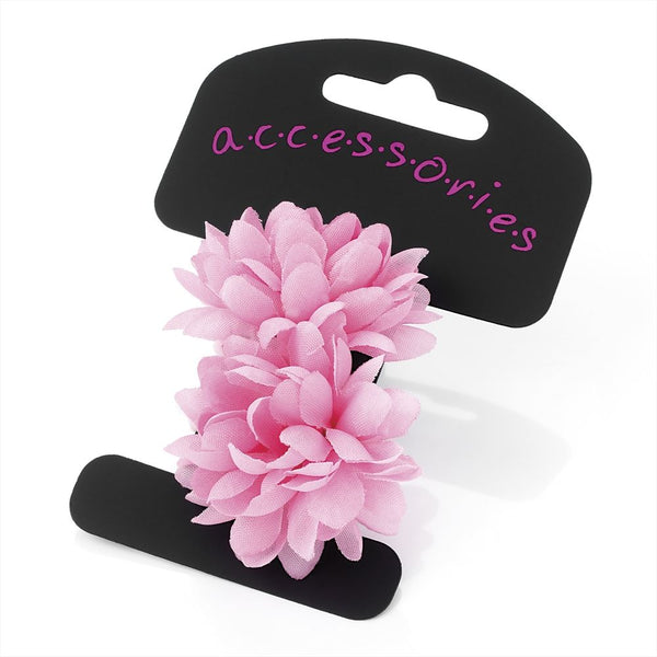 Two Piece Flower Ponio Hair Set - Pink 5cm