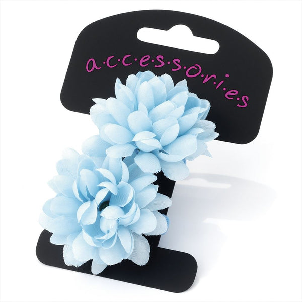 Two Piece Flower Ponio Hair Set - Light Blue 5cm