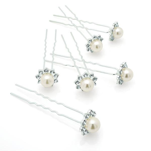 Six Piece Silver & Pearl Colour Crystal Metal Hair Pin Set 7cm