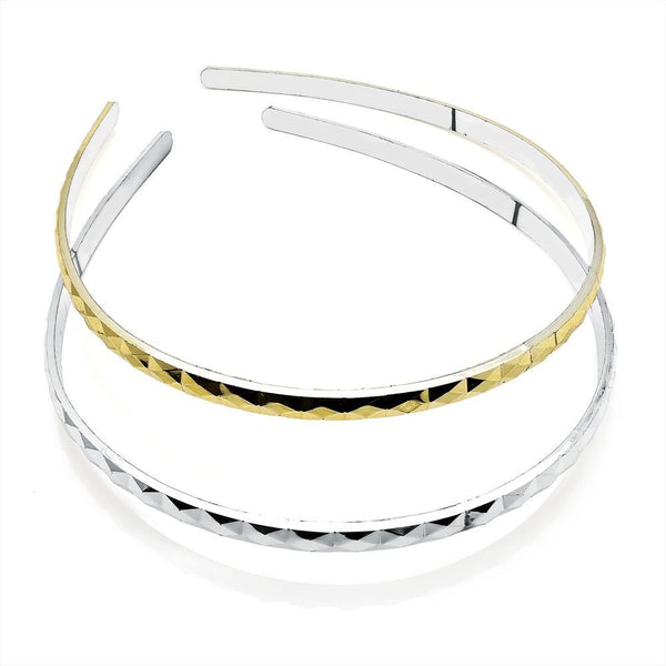 Two Piece Narrow Headband Set - Gold & Silver 7mm