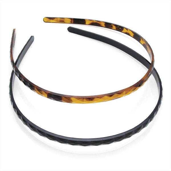 Two Piece Alice Band Hair Accessory Set - Black & Tortoiseshell 6.5cm