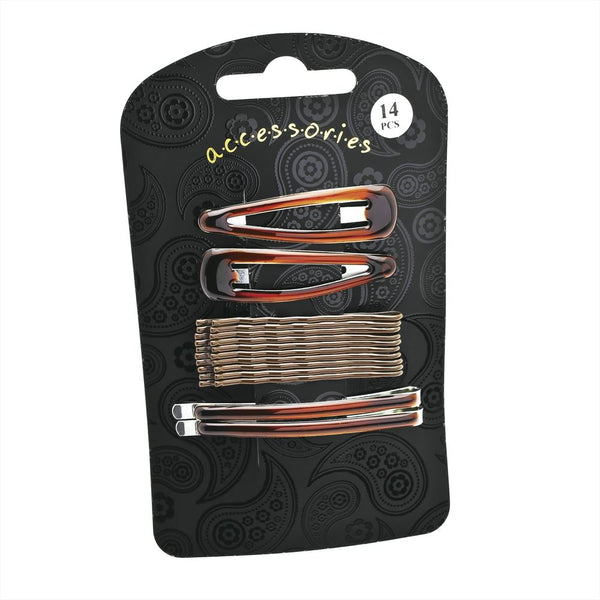 14 Piece Hair Clip Set - Brown Various Sizes