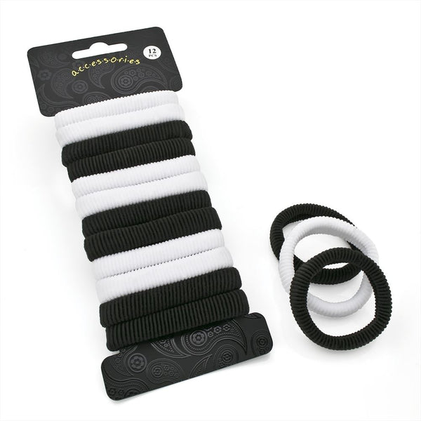 12 Piece Elasticated Hair Ponio Set - White & Black 1cm