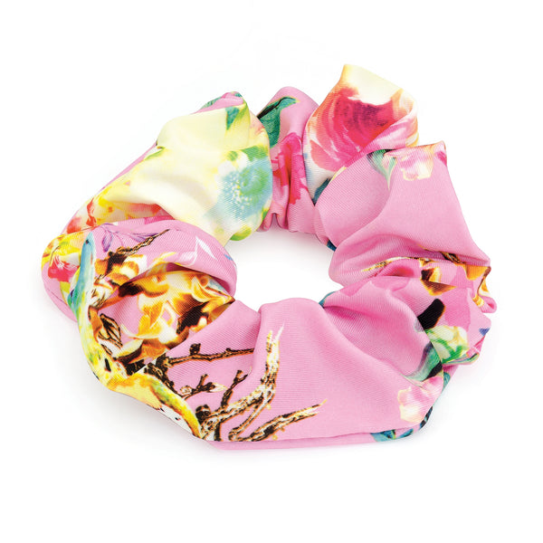 Flower Print Elasticated Hair Scrunchie Pink Tones 4cm