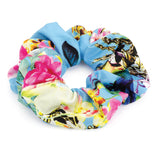 Flower Print Elasticated Hair Scrunchie Blue Tones 4cm