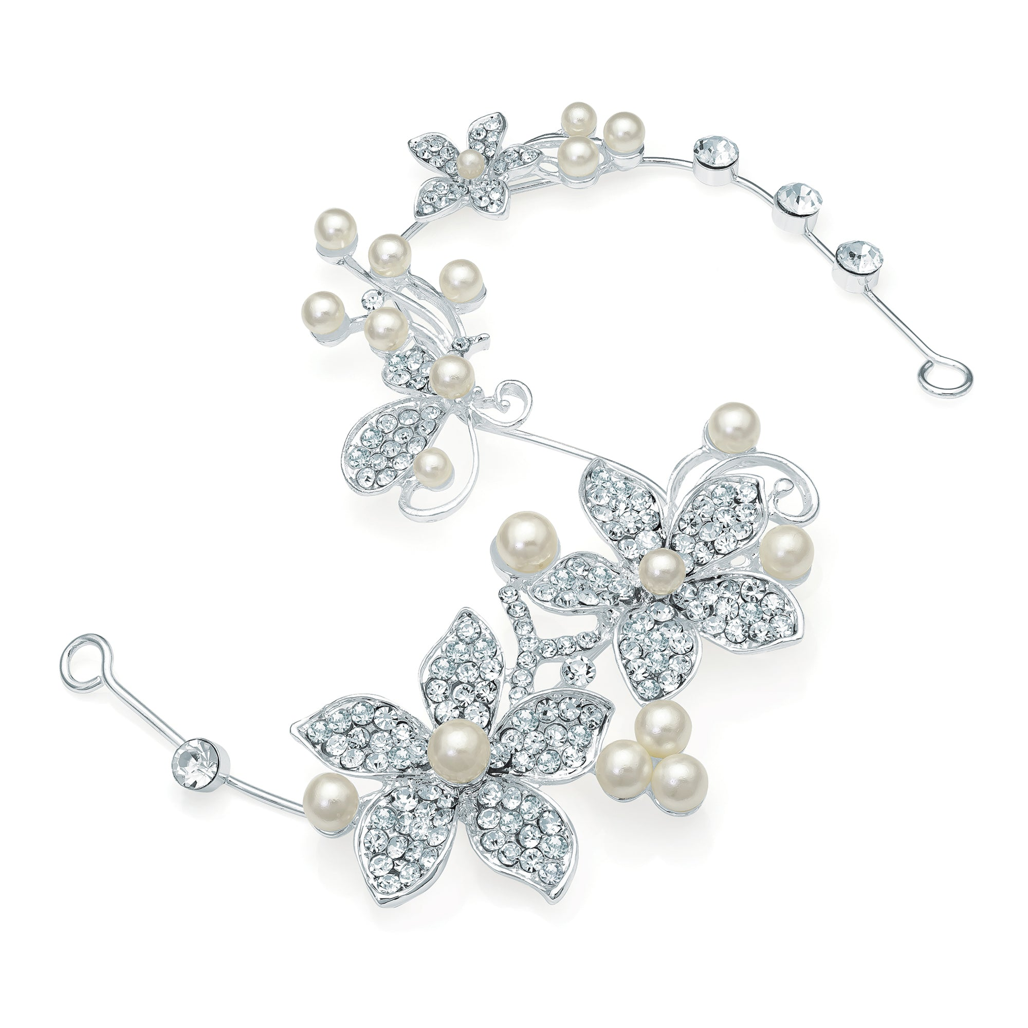 Silver Colour Shapeable Hair Wire with Crystal & Cream Pearl Floral Design