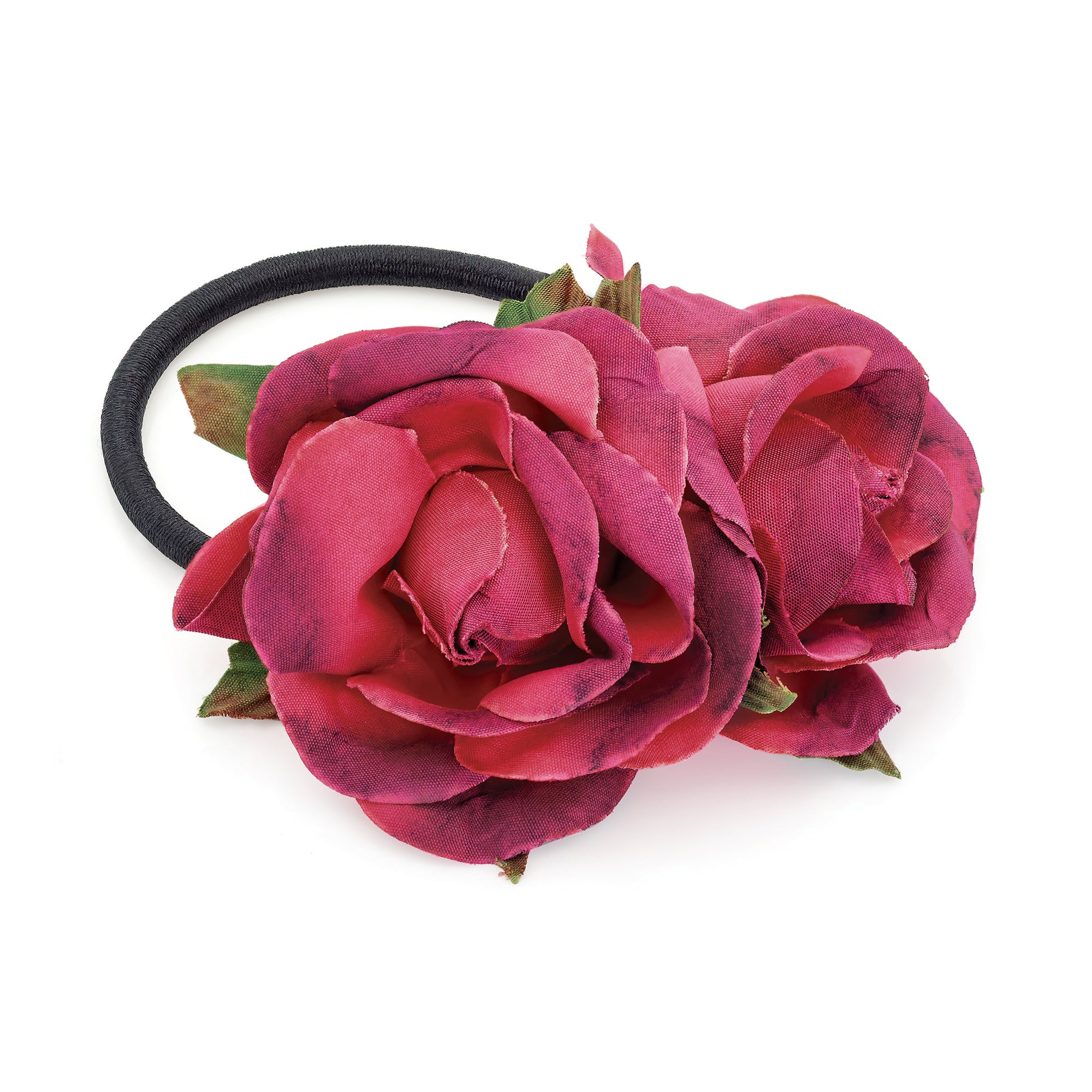 Double Rose Flower Hair Elastic Burgundy Tone with Green Leaves 7cm