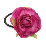 Flower Hair Elastic Fuchsia Tone with Green Leaves 6cm