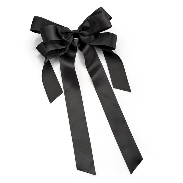 Black Ribbon Bow Hair Barrette 14cm with 25cm Tail