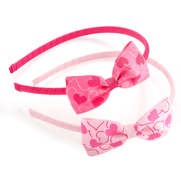 Two Piece Girls Fabric 8.5cm Bow On Aliceband Pink & Fuchsia