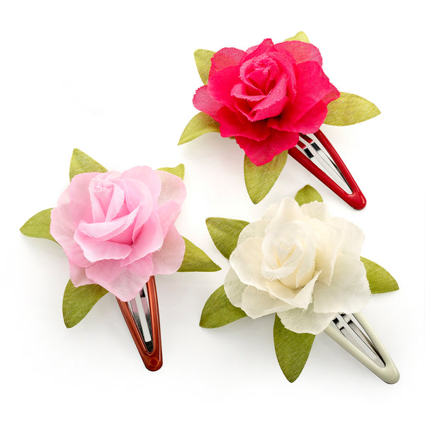 Three Piece Cream, Pink & Fuchsia Colour Flower Hair Snap Clip Set