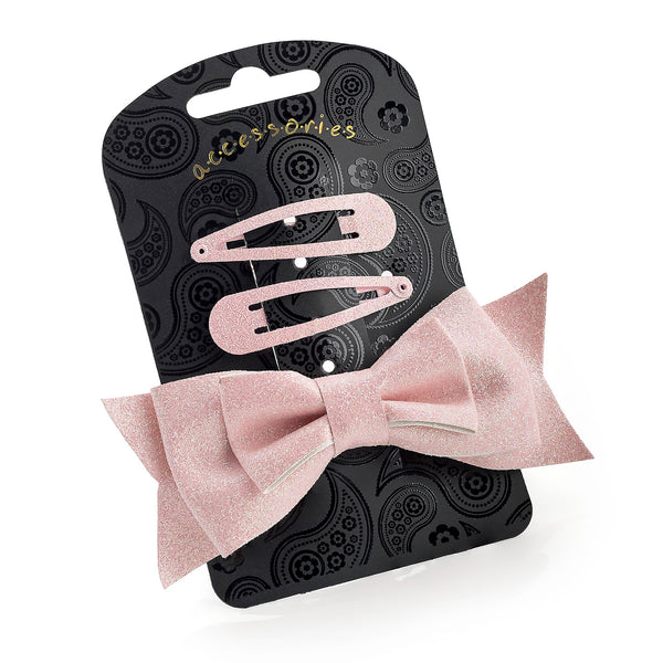 Three Piece Glitter Snap Clip & Bow Clip Set Pink 10cm Bow